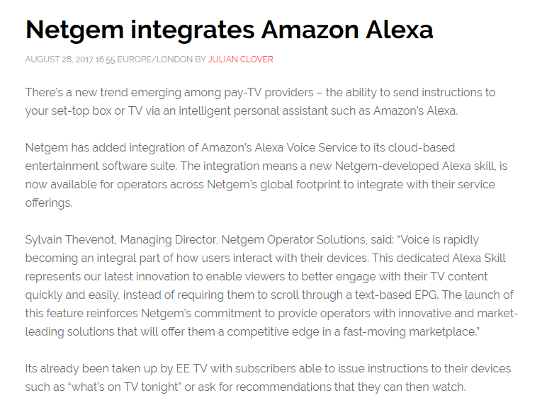 Netgem Alexa partner press release