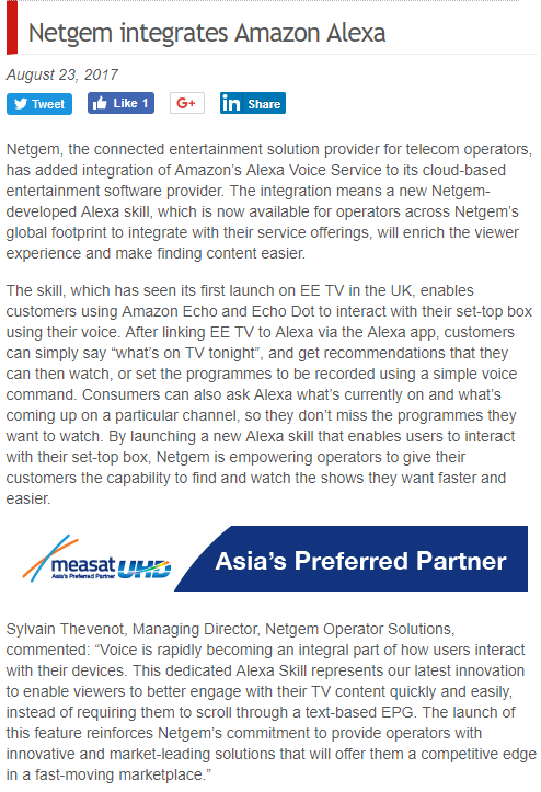 Netgem Amazon alexa partner press release