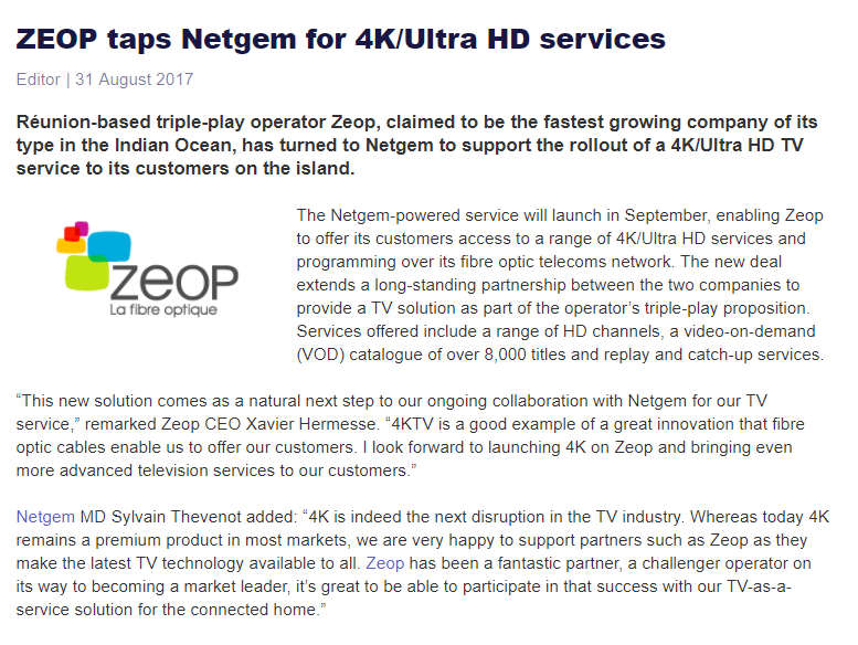 Zeop Netgem 4K customer