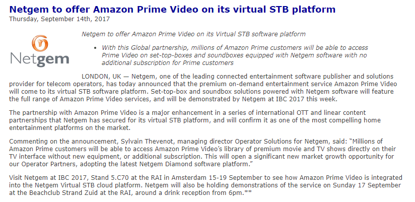 Amazon Video - Netgem