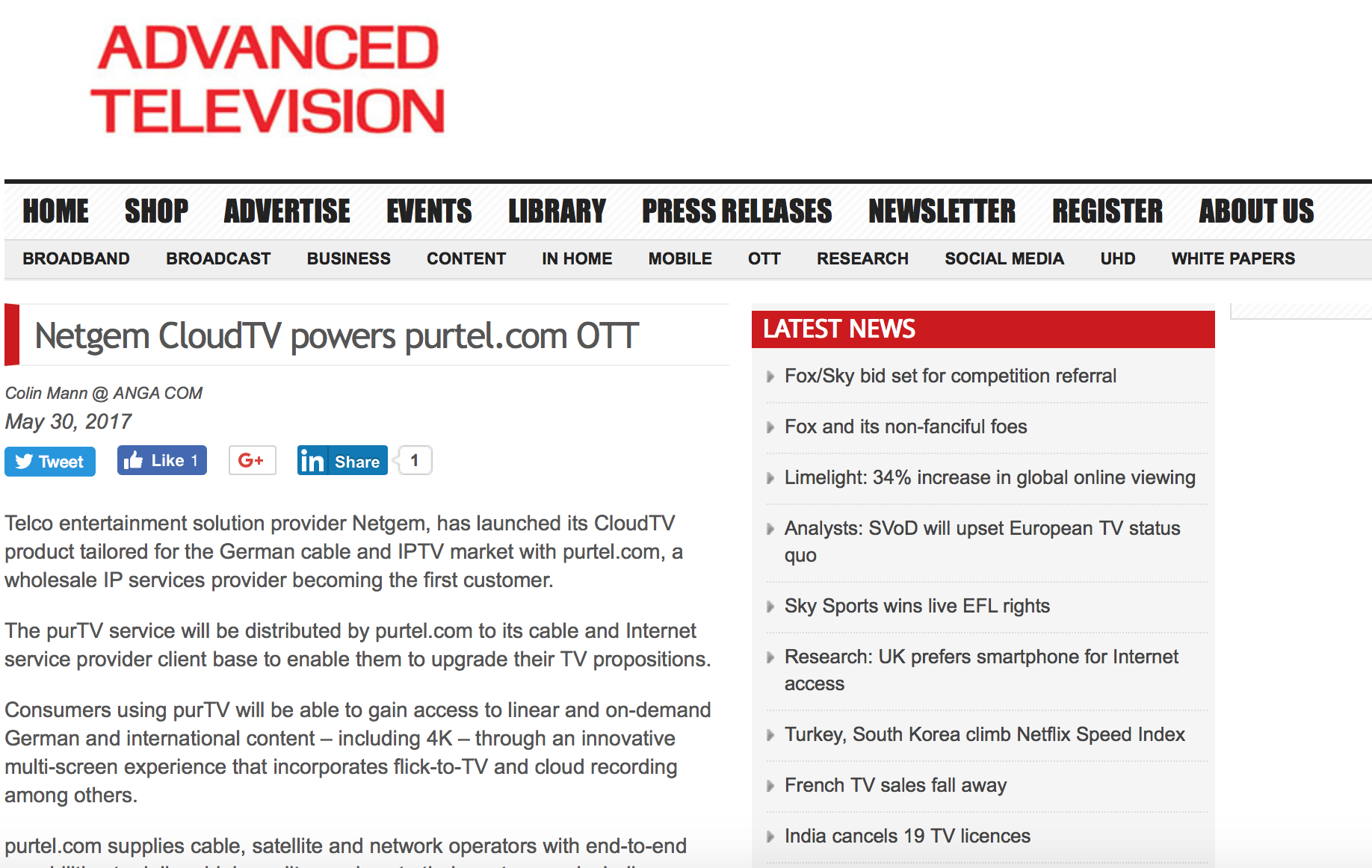 Netgem partner Customer Germany press purtel