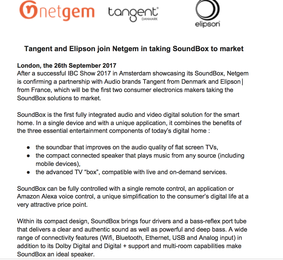 Netgem Press Release Soundbox