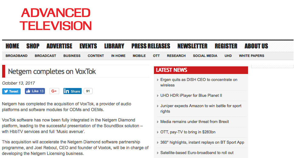 Advanced Television article - Netgem completes the acquisition of VoxTok press release